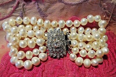 Vintage Style Real White Fresh Water Cultured Pearl Crystal Rhinestone Bracelet