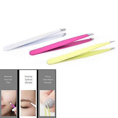 3x Professional Eyebrow Tweezers Hair Beauty Hair Removal Face Kit Pouch OQ
