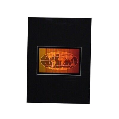 3D World Map Hologram Picture MATTED, Collectible Photopolymer Type Film