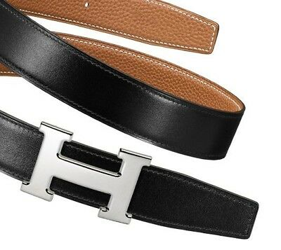 BNIB HERMES 32MM H Leather Belt Buckle Black/Gold Sz95 AUTHENTIC