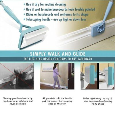 Baseboard Buddy Walk Extendable Microfiber Dust Cleaning Brush Home/Bar/Tile FY