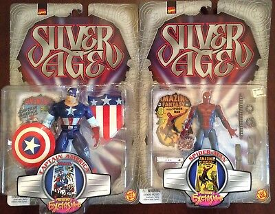 1999 MARVEL SILVER AGE FIGURE LOT Includes Spider-man Captain America