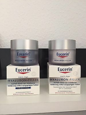 EUCERIN SET Anti-Age HYALURON-FILLER Tag&Nacht je 50ml !! NEU in OVP !!
