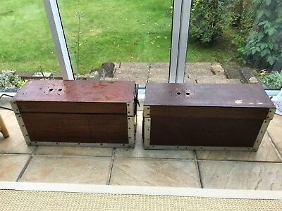 Job lot/ 3 Vintage wood /metal boxes poss used for signal box back up or similar