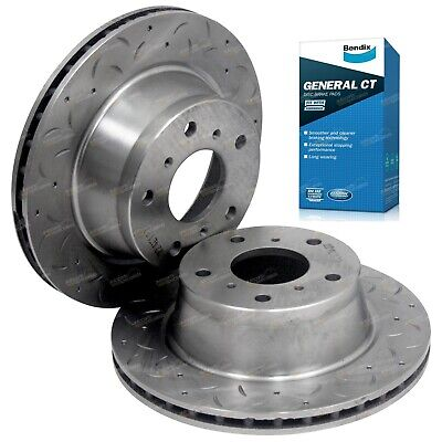 2 Front Slotted & Drilled Disc Rotors + Brembo Brake Pads Lexcen VR VS 1993-1997
