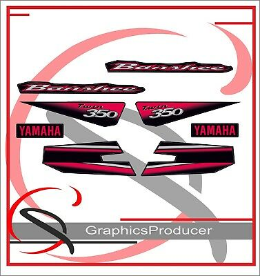 Yamaha Banshee 2003 Neon Red Replica Decals Graphics Full Set Custom Design
