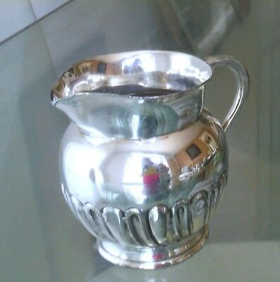 ANTIQUE SILVER PLATED SMALL CREAM JUG-GADROONED-DATE LETTER 't'