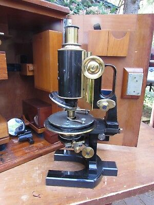 Antique Brass Carl Zeiss Jena Microscope boxed lenses No. 38259 nice jug handle