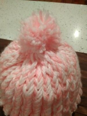 Baby Beanie Girls Hat Hand Knitted Hat 3-6 mth  Pink/ White Hand Knitted by me