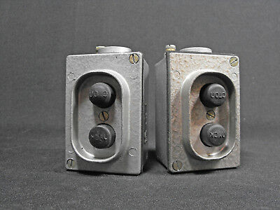 1 of 2 Vintage 80s industrial aluminium START STOP pushbutton switch Poland made