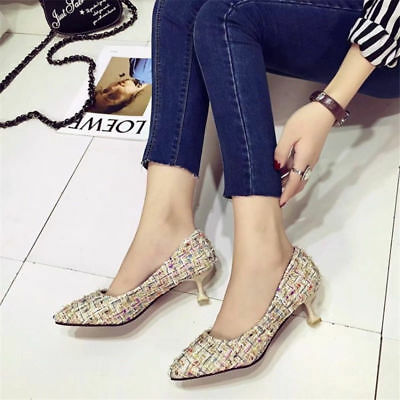 779884b854ae Women Kitten Mid Heels Closed Pointed Toe Pumps Mixed Color Slip On Casual  Shoes