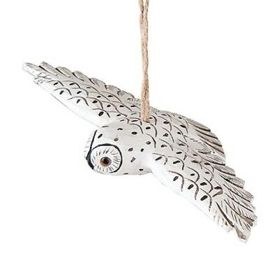"Gallerie Ii 6"" Hand Carved Wooden Flying Owl White Snowy Owl Christmas Ornament"
