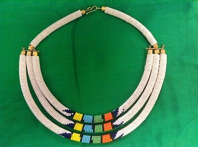 African-Arena Handmade Maasai Masai Beaded Tribal White Set of 3 Necklace AA619