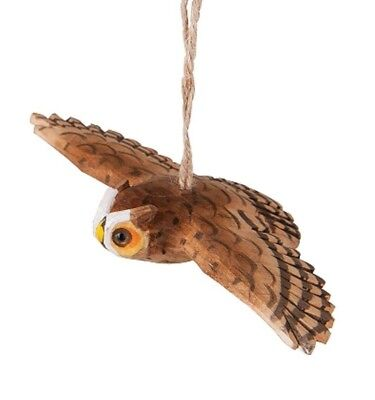 "Gallerie Ii 6"" Hand Carved Wooden Flying Owl Brown Tawny Owl Christmas Ornament"