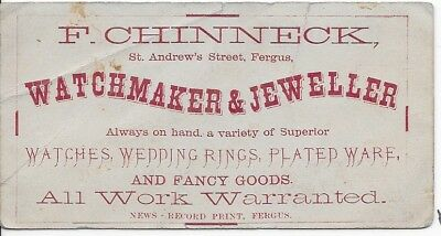 1871 F. Chinneck Jeweller Fergus, Ontario with receipt for silver watch on back