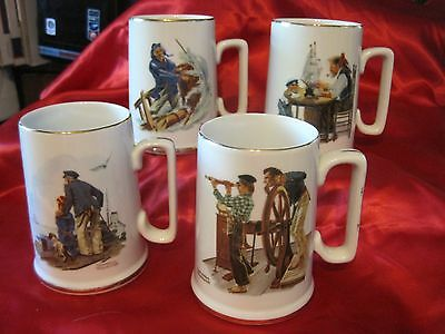 1985 Set 4 Norman Rockwell Museum Collector Tankards~Nautical Scenes~Gold Trim