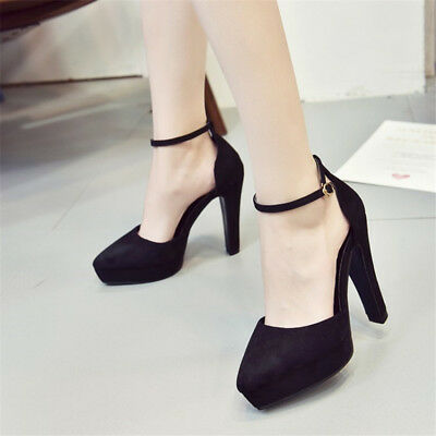 Women's High Heels Pointed Toe Platform Pumps Ankle Buckle Solid Party Shoes Sz