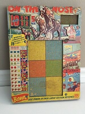 Vintage Punch Board 3D Horse Race Racing Cigarettes Unused Rare