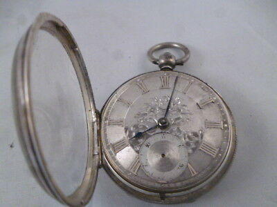 Solid Silver Pocket Watch with Silver Dial London 1865/66 for spares/repair (3)