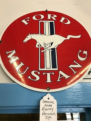 Vintage Ford Mustang Horse Ande Rooney Porcelain Advertising Dealer Sign 11 1/4""