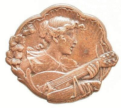 ANTIQUE ART NOUVEAU BUTTON THE GRASSHOPPER & THE MUSICIAN by A. BARGAS