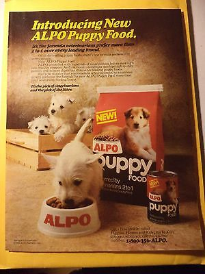 ALPO NEW PUPPY FOOD Magazine AD 1985 WHITE PUPPIES FREE SHIPPING