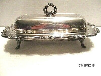 Wm. A. Rogers by Oneida Silver Plate Footed Butter Dish w/Lid Glass Insert Dish