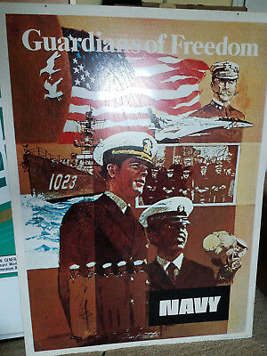 """Vintage US Navy Metal Two Sided Recruiting Sign """"Heritage"""" & """"Guardians..."""" 1974"""