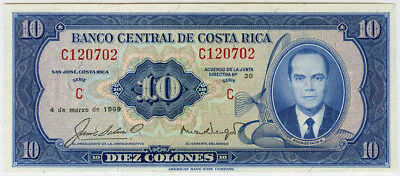 COSTA RICA 1969 ISSUE 10 COLONES SUPERB CRISP BANKNOTE UNC.PICK#230a.