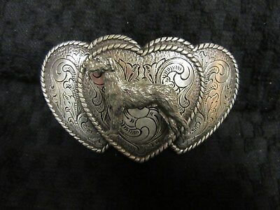 Handsome Figural Heart Irish Wolfhound Belt Buckle-One Of A Kind