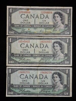 Lot of 3 DEVILS FACE $1 Dollar 1954 Paper Notes  Circulated