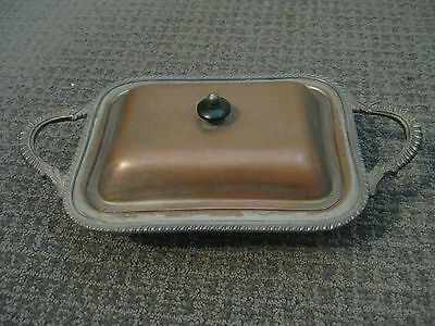 Vintage-Silver on Copper-Serving Tray/Platter with Lid