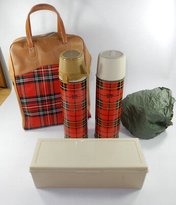 "(2) Vintage KING SEELEY 13-1/4"" Red Plaid Thermos w/ Lunch box ,Matching Case"