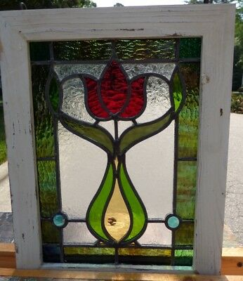 Victorian tulip leaded stained glass window 4