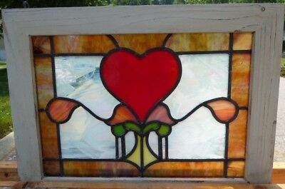 Victorian heart leaded stained glass window