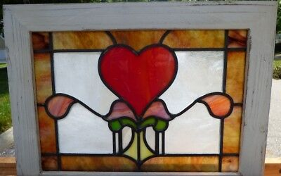 Victorian heart leaded stained glass window  2