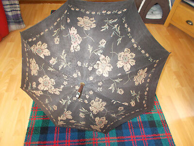 Vintage Brown And Gold Silk ? Parasol With Bamboo Handle