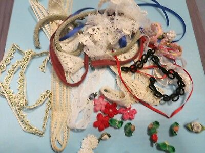 Vintage Treasures From The Past Lace Rosette Ribbon Applique  Flower   Lot 22