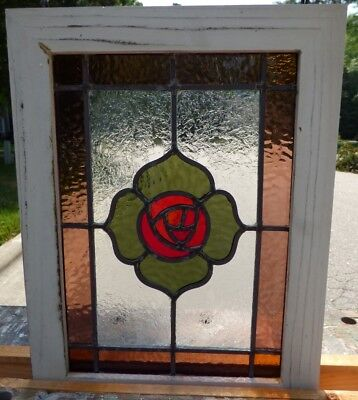 Victorian macintoch rose leaded stained glass window