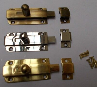 VINTAGE SMALL KNOB BOLT -old retro style cupboard door slide lock latch