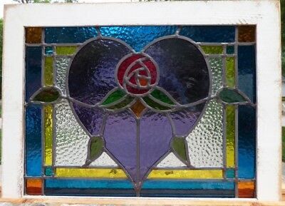 Victorian Macintoch rose heart leaded stained glass window 2