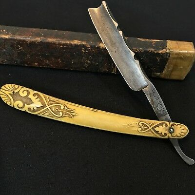 Vintage Antique H Boker & Co Straight Razor w/ Beautifully Carved Handle Rare
