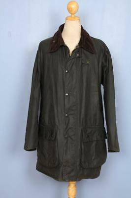 Mens BARBOUR Border WAXED Jacket Green Size 48