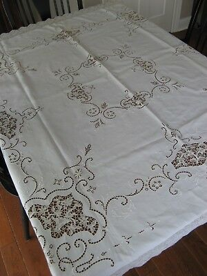 """Antique Embroidered Lace Tablecloth 62 x 62"""" Openwork Reticella? Lovely"""