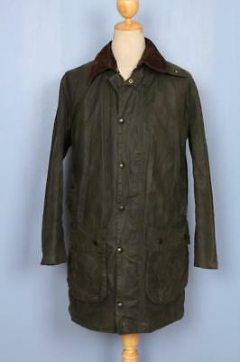 Mens BARBOUR Border WAXED Jacket Green Size 38