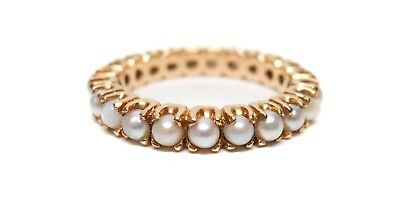 Antique Victorian Exquisite 14K Yellow Gold Seed Pearl Eternity Ring Size 7.25