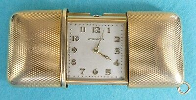 Art Deco Solid 9 Carat Gold Travelling Clock Engine Turned Movado London 1928