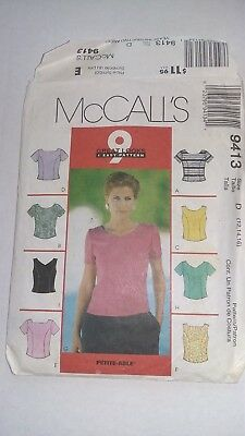 1990's Vintage McCalls 9413 Sewing Pattern, Misses' Tops, Back Buttoned Size 16