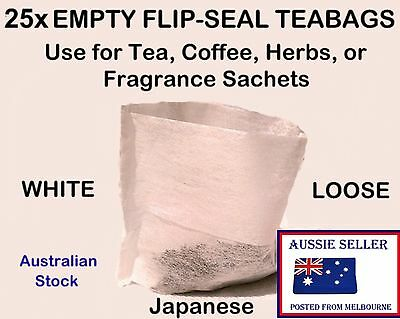 25 WHITE Empty FLIP-SEAL Tea Bags - Herb - Spice - Fruit Filter Infuser Teabags