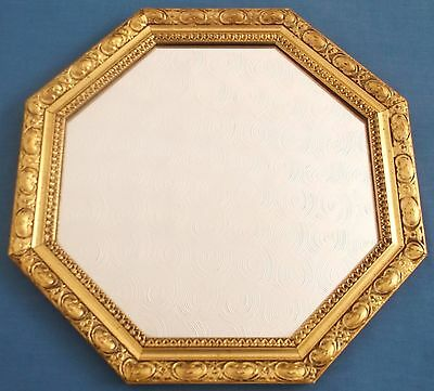 Vintage Octagonal Gold Gilt Ornate Frame Rococo Wall Hall Mirror